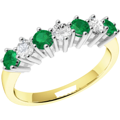 Emerald and Diamond Eternity Ring for Women in 9ct yellow and white gold with 7 stones, 4 emeralds and 3 diamonds