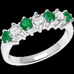 Inel cu Smarald si Diamant Dama Aur Alb 18kt cu 7 Pietre, 4 Smaralde si 3 Diamante Toate in Setare Gheare