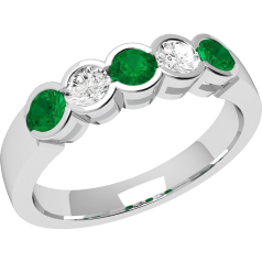 RDM278/9W - 9ct white gold 5 stone emerald and diamond eternity ring