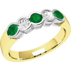 Emerald and Diamond Eternity Ring for Women in 9ct yellow and white gold with 3 round emeralds and 2 round brilliant diamonds