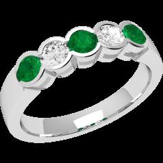 Smaragd und Diamant Ring für Dame in 18kt Weißgold mit 5 Steinen in Zargenfassung