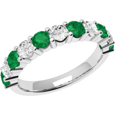 Emerald and Diamond Eternity Ring for Women in 9ct white gold with 6 round emeralds and 5 round brilliant cut diamonds
