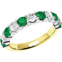 Emerald and Diamond Eternity Ring for Women in 9ct yellow and white gold with 6 round emeralds and 5 round brilliant cut diamonds