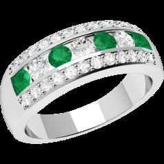 Inel cu Smarald si Diamant Dama Aur Alb 18kt cu Smaralde si Diamante Rotunde in Setare Canal si Gheare
