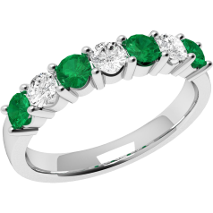 RDM336/9W - 9ct white gold 7 stone emerald and diamond eternity ring