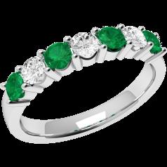 Inel cu Smarald si Diamant Dama Aur Alb 18kt cu 4 Smaralde Rotunde si 3 Diamante Rotund Briliant in Setare Gheare