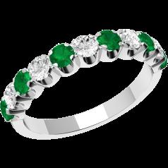 Smaragd und Diamant Ring für Dame in 18kt Weißgold mit 11 Steinen in Krappenfassung