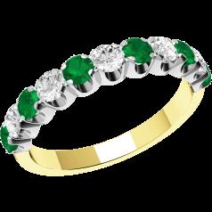 Smaragd und Diamant Ring für Dame in 18kt Gelbgold und Weißgold mit 11 Steinen in Krappenfassung