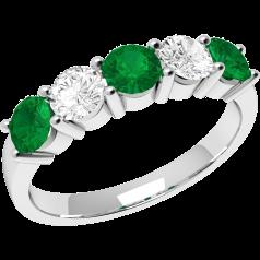 Inel cu Smarald si Diamant Dama Aur Alb 18kt cu 3 Smaralde Rotunde si 2 Diamante Rotund Briliant