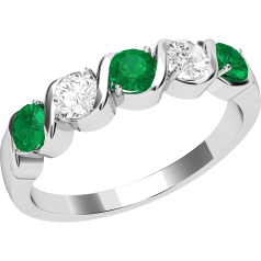 Emerald and Diamond Eternity Ring for Women in 9ct white gold with 2 round brilliant cut diamonds and 3 round emeralds