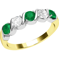 Emerald and Diamond Eternity Ring for Women in 18ct yellow and white gold with 2 round brilliant cut diamonds and 3 round emeralds