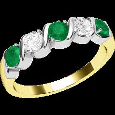 Smaragd und Diamant Ring für Dame in 18kt Gelbgold und Weißgold mit 5 Steinen