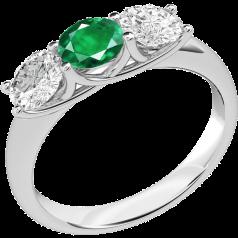 Inel cu Smarald si Diamant Dama Aur Alb 18kt cu 2 Diamante Rotund Briliant si un Smarald Rotund in Setare Gheare