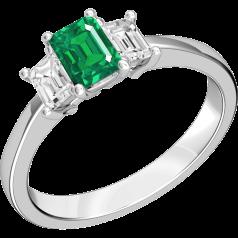 Smaragd und Diamant Ring für Dame in 18kt Weißgold mit 2 Smaragd Schliff Diamanten und einem Smaragd Schliff Smaragd in der Mitte