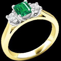 RDM389YW - 18kt Gelb- und Weissgold Ring mit einem Smaragd-Schliff Smaragd in der Mitte, mit runden Brillanten auf beiden Seiten