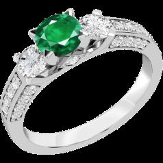 Inel cu Smarald si Diamant Dama Aur Alb 18kt cu un Smarald Rotund in Centru si Diamante Rotund Briliant in Setare Gheare