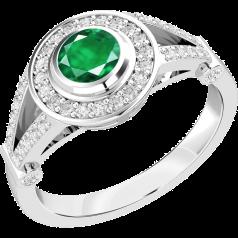Inel cu Smarald si Diamant Dama Aur Alb 18kt cu un Smarald Rotund in Setare Rub Over si Diamante Mici Rotund Briliant in Setare Gheare