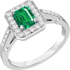 Inel cu Smarald si Diamant Cluster Dama Aur Alb 18kt cu un Smarald Taietura Smarald si Diamante Mici Rotund Briliant