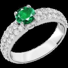 Inel cu Smarald si Diamant Dama Aur Alb 18kt cu un Smarald Rotund in Setare Gheare si Diamante Mici Rotund Briliant in Setare Tip Pavata