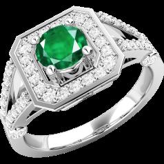 Inel cu Smarald si Diamant Dama Aur Alb 18kt cu un Smarald Rotund si Diamante Mici pe Margini