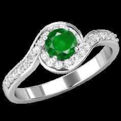 RDM470W-Inel cu Smarald si Diamante Mici pe Lateral Dama Aur Alb 18kt cu Diamant Rotund Briliant in Centru si Diamante Mici Rotunde Imprejur In Setare Gheare