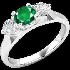 Inel cu Smarald si Diamant Dama Aur Alb 18kt cu un Smarald Rotund in Centru si Diamante Rotund Briliant pe Margini