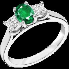 RDM492W - 18kt Weissgold 3 Steine Ring mit einem ovalen Smaragd in der Mitte, und einem Princess Schliff Diamanten auf beiden Seiten, alle in Krappenfassung