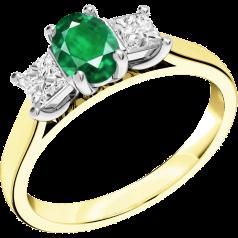 RDM492YW - 18kt Gelb- und Weissgold 3 Steine Ring mit einem ovalen Smaragd in der Mitte, und einem Princess Schliff Diamanten auf beiden Seiten, alle in Krappenfassung