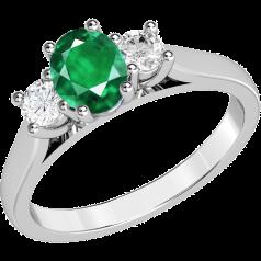 Inel cu Smarald si Diamant Dama Aur Alb 18kt cu un Smarald Oval si 2 Diamante Rotund Briliant in Setare Gheare