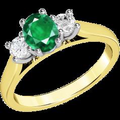 RDM493YW - 18kt Gelb- und Weissgold 3 Steine Ring mit einem ovalen Smaragd in Krappenfassung in der Mitte, und mit einem runden Brillanten auf jeder Seite