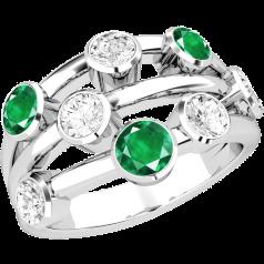 Inel cu Smarald si Diamant Dama Aur Alb 18kt cu 5 Diamante Rotund Briliant si 3 Smaralde Rotunde in Setare Rub Over
