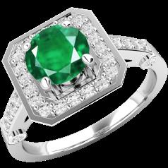 RDM516W-Inel cu Smarald si Diamant Dama Aur Alb 18kt cu un Smarald Rotund si Diamante Rotund Briliant Imprejur si pe Margini