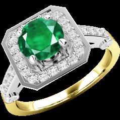 Inel cu Smarald si Diamant Dama Aur Galben si Aur Alb 18kt cu un Smarald Rotund si Diamante Rotunde Mici in Setare Gheare si Rub-Over, Stil Cluster
