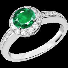 Inel cu Smarald si Diamant Dama Aur Alb 18kt cu un Smarald Rotund in Setare Gheare si Diamante Mici pe Margini