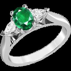 Inel cu Smarald si Diamant Dama Aur Alb 18kt cu un Smarald Oval si 2 Diamante Forma Para in Setare Gheare