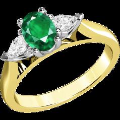 RDM523YW-18kt Gelb- und Weissgold 3 Steine Ring mit einem ovalen Smaragd und Tropfen-Schliff Diamanten, alle in Krappenfassung