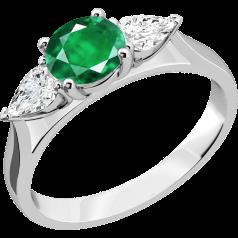 Inel cu Smarald si Diamant Dama Aur Alb 18kt cu un Smarald Rotund si 2 Diamante Forma de Para
