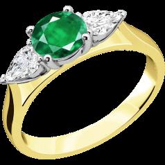 Smaragd und Diamant Ring für Dame in 18kt Gelbgold und Weißgold mit einem runden Smaragd und Tropfen Schliff Diamanten auf beiden Seiten