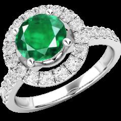 Inel cu Smarald si Diamant Cluster Dama Aur Alb 18kt cu un Smarald Rotund si Diamante Mici Rotund Briliant in Setare Gheare