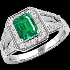 Inel cu Smarald si Diamant Dama Aur Alb 18kt cu un Smarald Taietura Smarald si Diamante Rotund Briliant pe Margini