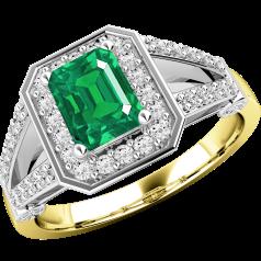 RDM544YW - 18kt Gelb- und Weissgold Cluster Ring mit einem Smaragd-Schliff Smaragd in der Mitte, umgeben von runden Brillant Schliff Diamanten