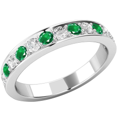 Inel cu Smarald si Diamant Dama Aur Alb 18kt cu 7 Smaralde Rotunde si 6 Diamante Rotund Briliant Toate in Setare Gheare