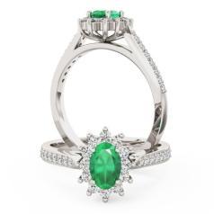 Inel cu Smarald si Diamant Dama Aur Alb 18kt cu un Smarald Oval si Diamante Rotund Briliant
