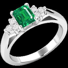 Inel cu Smarald si Diamant Dama Aur Alb 18kt cu un Smarald Central Octagon si Diamante Mici Rotund Briliant pe Margini