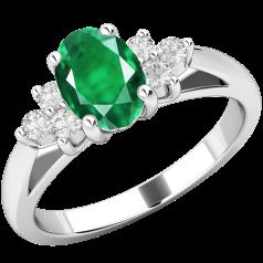 Inel cu Smarald si Diamant Dama Aur Alb 18kt cu un Smarald Oval si Diamante Mici Rotund Briliant pe Margini
