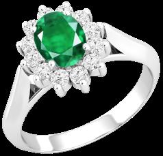 Inel cu Smarald si Diamant Dama Aur Alb 18kt cu un Smarald Oval si Diamante Rotund Briliant in Setare Gheare
