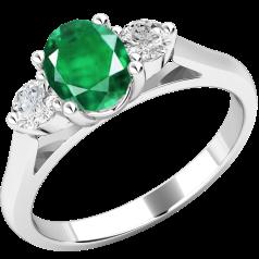 Inel cu Smarald si Diamant Dama Aur Alb 18kt cu un Smarald Oval si Diamante Rotund Briliant pe Margini