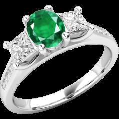 Inel cu Smarald si Diamant Dama Aur Alb 18kt cu un Smarald Oval si 2 Diamante Princess in Setare Gheare,cu Diamante Mici pe Lateral