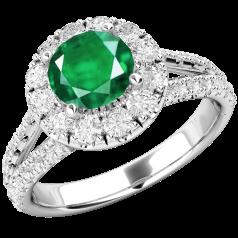 RDM571W-Inel cu Smarald si Diamant Dama Aur Alb 18kt cu un Safir Rotund si Diamante Mici Rotund Briliant Imprejur si pe Margini,Design Clasic,Eleganță Modermă