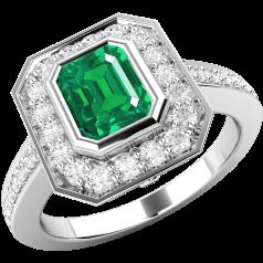 Inel cu Smarald si Diamant Dama Aur Alb 18kt cu un Smarald Forma Octagon in Setare Rub Over si Diamante Mici Rotund Briliant
